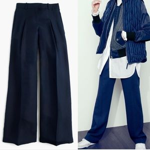 J. Crew Collection Wide Leg Trouser Navy 12 B0937